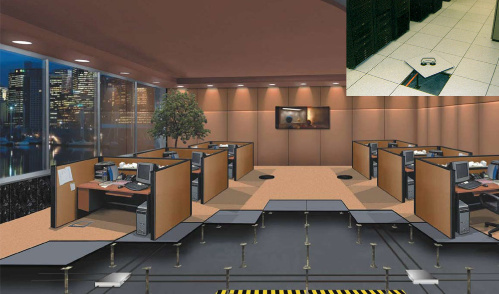 Raised access flooring office flooring solutions batavia for Elevated floor